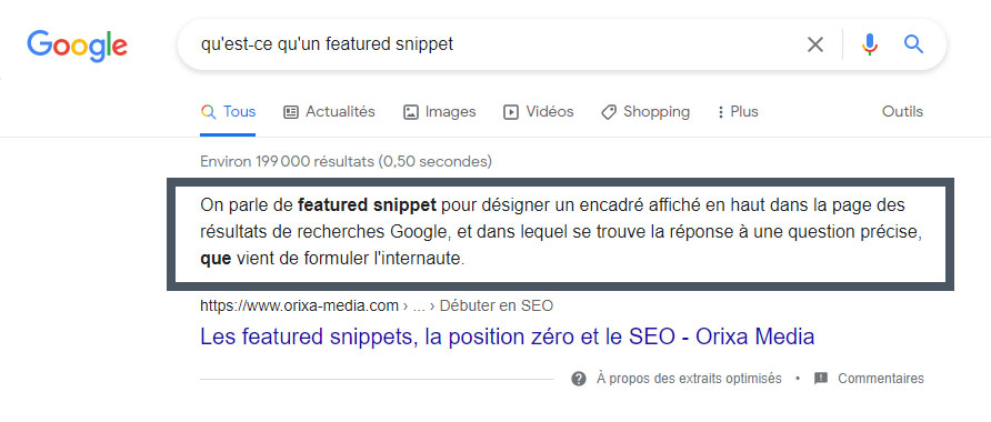 Illustration d'un Featured Snippets